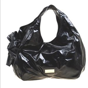 Valentino Nuage Black Patent Leather Bow Bag